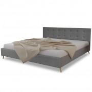 vidaXL Pat lemn calitate superioară, tapițerie textil, 200x180cm, gri deschis