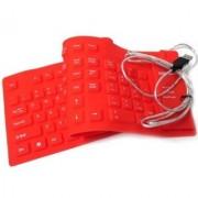 Oxza 109 Keys USB Silicone Rubber Waterproof Flexible Foldable Wired USB Laptop Keyboard (Red)