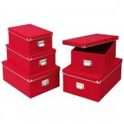ZELLER Box pro skladování, 5 ks, barva červená, ZELLER