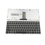 Клавиатура за лаптоп Lenovo, съвместима със серия 500-14ISK, US, със сребриста рамка, с черни бутони