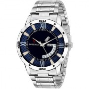 Svviss Bells Original Blue Dial Silver Steel Chain Day and Date Multifunction Chronograph Wrist Watch for Men - SB-1018