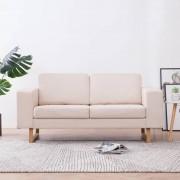 vidaXL 2-местен диван, текстил, кремав