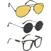 Criba Wayfarer, Round, Aviator Sunglasses(Black, Yellow, Clear)