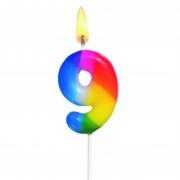 Lumanare aniversara, cifra ''9'', curcubeu, HERLITZ