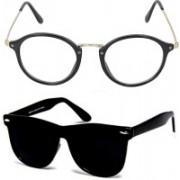 Ivonne Retro Square Sunglasses(Black, Clear)