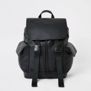 River Island Mens Black double buckle flapover backpack (One Size)