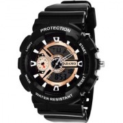Adamo Black Resin Round Analog-Digital Watch for Men