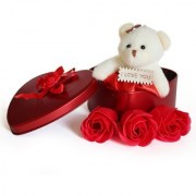 Valentine's Day Gift Heart Shape Box with Teddy and Roses For Your Lover