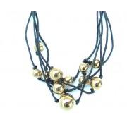 Náramek zlaté perly na textilním provázku