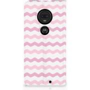 Motorola Moto G7 G7 Plus Uniek Standcase Hoesje Waves Roze