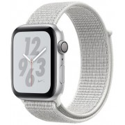 Smartwatch Apple Watch 4 Nike Plus, 40mm, LTPO OLED Retina Display, GPS, Bluetooth, Wi-Fi, Bratara Sport Loop Alba, Carcasa aluminiu, Rezistent la apa si praf (Silver) + Cartela SIM Orange PrePay, 6 euro credit, 6 GB internet 4G, 2,000 minute nationale si