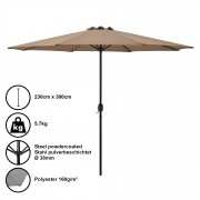Градински чадър [casa.pro]® Ø 300 x 230 cm, Бежов, водоусточив, Полиестер