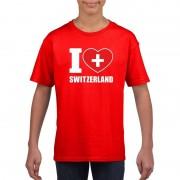 Shoppartners Rood I love Zwitserland fan shirt kinderen