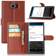 New Premium PU Leather Wallet Protective Cases Flip Cover with Stand Card Holder for Blackberry Priv 2015 Smartphone-Brown