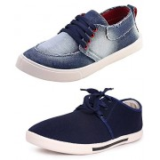 Chevit Men's Combo Pack of 2 Denim Sneakers (Casual Shoes) CB-131+110-9