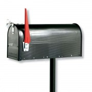 US mailbox with pivotable flag, black