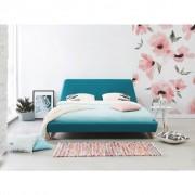 Beliani Cama de casal - Tecido azul claro - 160x200 cm - Estrado - VIENNE