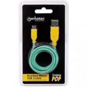 Manhattan Cavo Micro USB Guaina Intrecciata USB2.0 A M/MicroB M Azzurro Blister