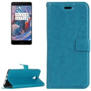 OnePlus 3 Crazy Horse Texture Horizontal Flip PU Leather Case with Holder & Card Slots & Wallet(Blue)