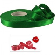 De-Ultimate Green Satin Ribbon Roll of 18 Meter for Decorations Gift Wrapping Hobby and School Craft With Freebie Ribbon