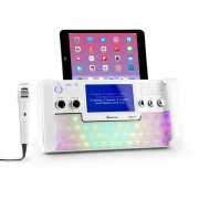 "DiscoFever Impianto Karaoke Bluetooth Display TFT 7"" LED CD USB Bianco"