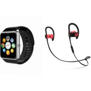 Zemini GT08 Smart Watch and QC 10 Bluetooth Headphone for LG OPTIMUS L3(GT08 Smart Watch with 4G sim card camera memory card |QC 10 Bluetooth Headphone )