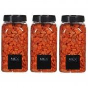 Mica Decorations 3x Decoratie/hobby steentjes oranje 650 ml