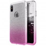 Funda Case Para IPone X (iPhone 10) Doble Protector De Plastico Con Brillos Luxury - Silver Con Rosa