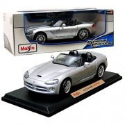 """Maisto Year 2014 Special Edition Series 1:18 Scale Die Cast Car Set Silver Color Coupe Dodge Viper Srt 10 With Display Base (Car Dimension: 9"""" X 4"""" X 2 1/2"""")"""