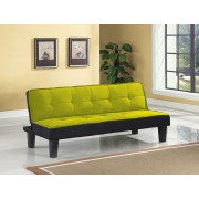 Hamar green microfiber fabric upholstered small space apartment size adjustable sofa futon bed with dark finish legs
