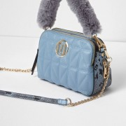 River Island Womens Blue quilted faux fur handle crossbody bag