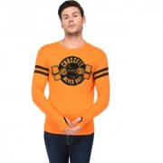 TRENDS TOWER Full Sleeve Round Neck Thumb Ring Mens T-Shirt Orange Color Cross Fit Never Quit Graphics Print
