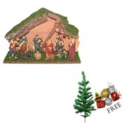 Asian Hobby Crafts Three Kings Gifts Real Life Nativity Set (10 Pieces, 12x7.5-inch) with Free Tree and Hangings (1 Feet)