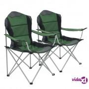 vidaXL Sklopive stolice za kampiranje 2 kom 96 x 60 x 102 cm zelene