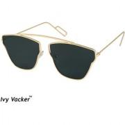 Ivy Vacker Golden Black Square Aviator Sunglass