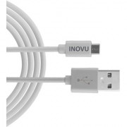 INOVU Micro USB Cable DC-201 White (4 Feet - 1.2 Meter 2.4 AMP Fast Charge Fast Sync High Quality PVC)