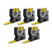 Etichete industriale autocolante DYMO ID1 vinil 19mm x 5.5m negru galben x 5 buc 18433 S0718470