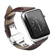 QIALINO Genuine Leather Watchband Wristband for Apple Watch Series 4 44mm / Series 3 / 2 / 1 42mm - Coffee