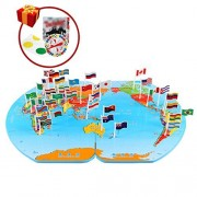 Monique Children Wooden World Map Flag Matching Puzzle Toy Kids Geography Jigsaw Puzzles Toy