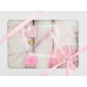 Trusou botez bentița roz in cutie cu capac alb