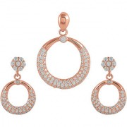 92.5 Sterling Silver Cubic Zirconia Studded Wheel-of-Fortune Pendant Earrings Set for Women and Girls (Rose Gold/ Silver)
