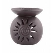 Odorizant din ceramica cu ulei scortisoara si lumanare AD-Trend negru diam 14 cm inaltime 15 cm