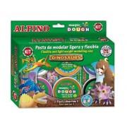 Kit 6 culori x 40gr plastelina magica + 4 seturi accesorii, ALPINO Dinosaurs