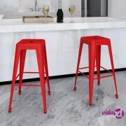 vidaXL Barske stolice od čelika 2 kom crvene