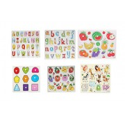 Baybee Premium Wooden Puzzles -Set of 6 for Attractive Price Discount- Alphabet , Numbers , Vehicle, Vegetable, Classroom & Puzzle Box