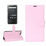 For BlackBerry Keyone Litchi Texture Horizontal Flip Leather Case with Holder & Card Slots & Wallet(Pink)