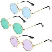 Briota Round Sunglasses(Blue, Green, Violet)