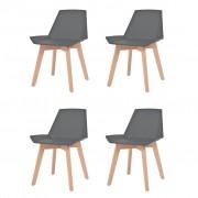 vidaXL Jídelní židle 4 ks šedé plastové sedáky, bukové nohy