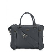 Yelloe Big Size Grey Synthetic Leather Multi Compartment Laptop Bag