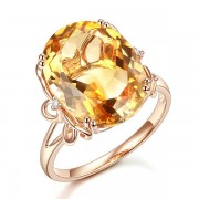 Inel Borealy Aur Roz 14 K 8 2 ct Yellow Citrin Natural Luxury Butterfly